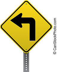 Sharp turn sign - Sharp turn traffic warning sign...