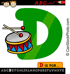 letter d with drum cartoon illustration