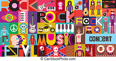 Rock Concert Poster. Musical collage - vector illustration...