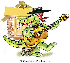 Cartoon alligator playing guitar