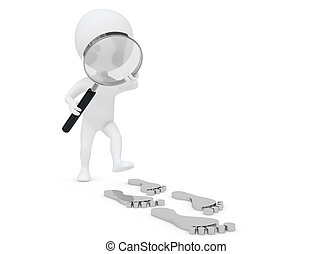 3d humanoid character follow the footprint with a lens - 3d...