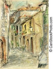 Medieval street in Italia - Medieval street in the Italian...