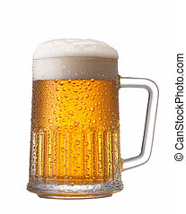 mug of beer - a mug of beer with water drop