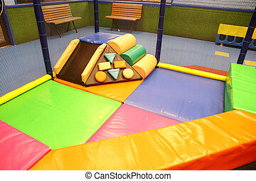 Abstract photograph featuring childrens play equipment at a...
