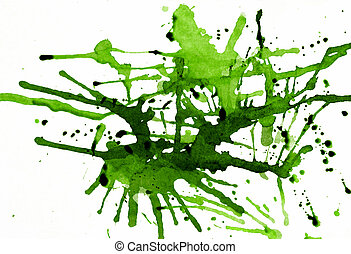 Green splatters - Splashes of ink on white with wet ink...