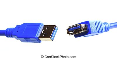 USB cable isolated on white - Blue USB cable isolated on...