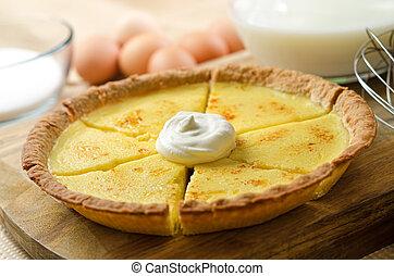 Custard Pie - A freshly baked egg custard pie.