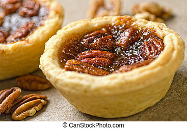 Pecan Butter Tarts - Pecan butter tarts with whole pecans.