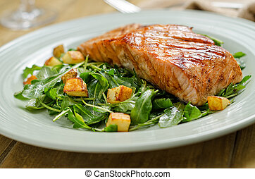 Grilled Salmon - Grilled salmon with roasted potato and...