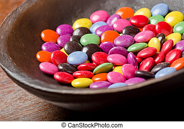 Candy Coated Chocolates - A colourful bowl of candy coated...