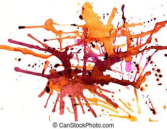 Orange splatters - Fresh splashes of colourful paint on...