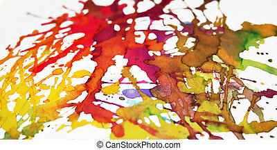 Vibrant splatters - Splashes of brightly coloured ink on...
