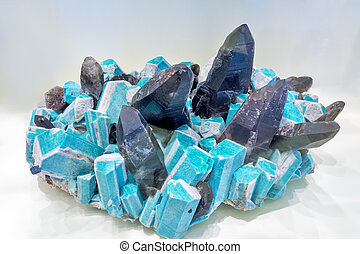 Geologic minerals Microcline and smoky quarts - Museum...