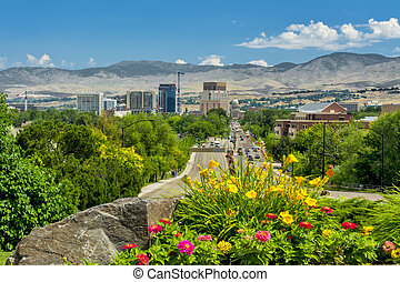 View down a main steet of Boise Idaho Capital - Idaho state...