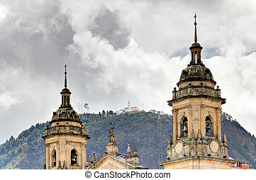 Bogota Cathedral with Monserrate - Cathedral of Bogota with...