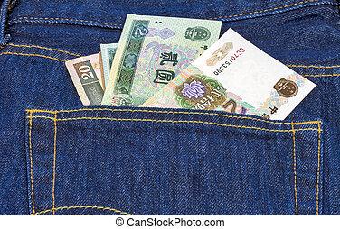 Chinês, mone, costas, bolso, par, azul, Calças...
