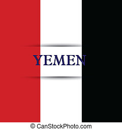 Yemen text on special background allusive to the flag