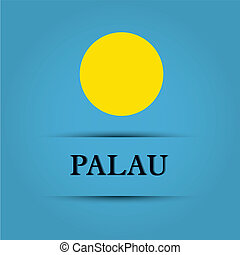 Palau text on special background allusive to the flag