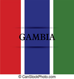 Gambia text on special background allusive to the flag