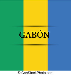 Gabon text on special background allusive to the flag