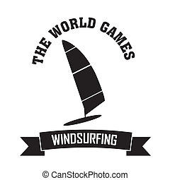 Windsurfing symbol on white background