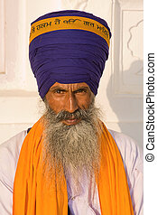 Sikh man in Amritsar, India. - Portrait of Indian sikh man...