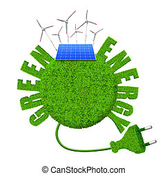 Green energy concepts - Green planet with wind turbines and...