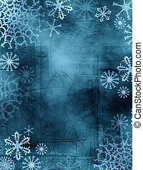 tie-dye snowflakes - wintry frame with textured background...