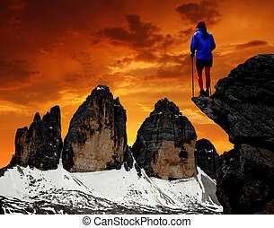 Tre cime di Lavaredo - Girl looking at the Tre cime di...