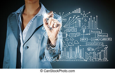 Business plan - Close up of businesswoman sketching business...