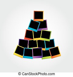 Christmas tree with polaroids - Christmas tree with colorful...