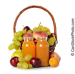 Various fruit in a  basket and juice