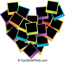 Heart with colorful polaroids
