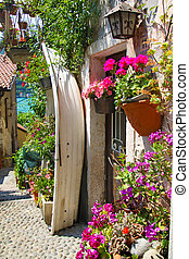 Tiny street on Isola dei Pescatori - Colourful street in the...