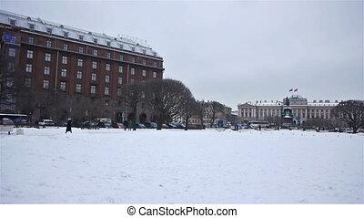 Saint Icaas square in St.Petersburg, Russia