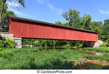 Cataract Covered Bridge spans Mill Creek in rural Owen...