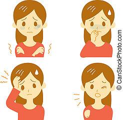 Disease Symptoms 01, woman - Disease Symptoms 01, fever and...