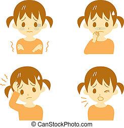 Disease Symptoms 01, girl - Disease Symptoms 01, fever and...