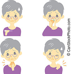 Disease Symptoms 02, old woman - Disease Symptoms 02, fever,...