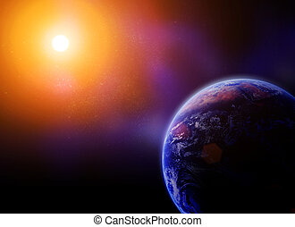 earth against the sun in space Elements of this image are...