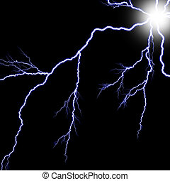 Digital backgroundElectric flash of lightning on a blue...