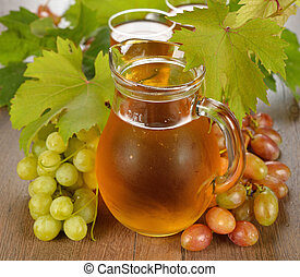 grape juice - Fresh grape juice on a brown table