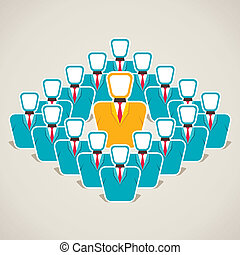leader discuss his team concept stock vector