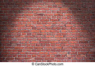 fundo, vermelho, tijolo, parede