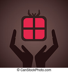 gift secure by hand symbol stock vector