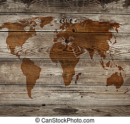vintage map of wooden background
