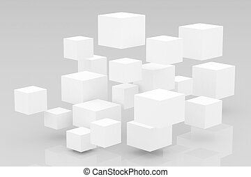 Abstract 3D glossy  cubes background.