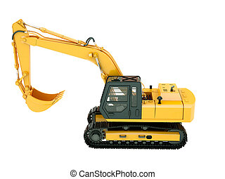 Excavator isolated - Construction heavy machine: excavator...