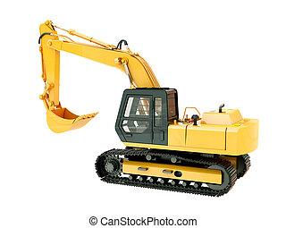 Excavator isolated - Construction heavy machine: excavator...