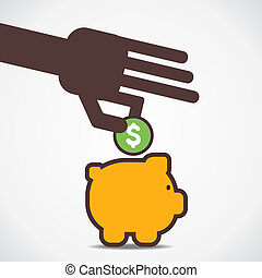 saving money concept - save money in piggy vector